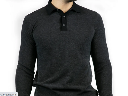 Bewley & Ritch  - lightweight 100% cotton long sleeved polo - charcol