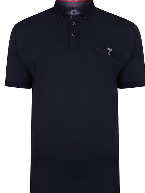 Peter Gribby - Plain interlock Polo Shirt - Navy