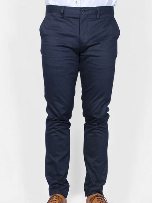 Bewley & Ritch  - Straight legged chinos -navy with red trim