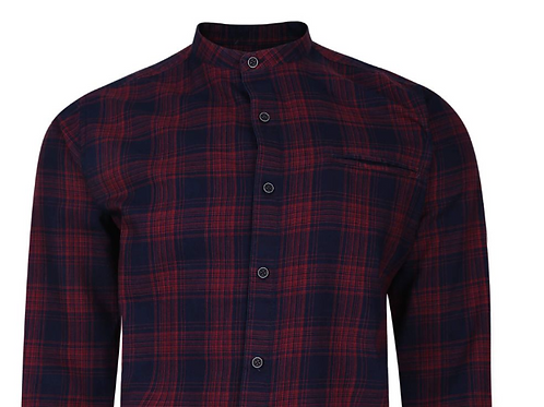 Peter Gribby - Long sleeved grandad collar checked shirt.  Red & Navy
