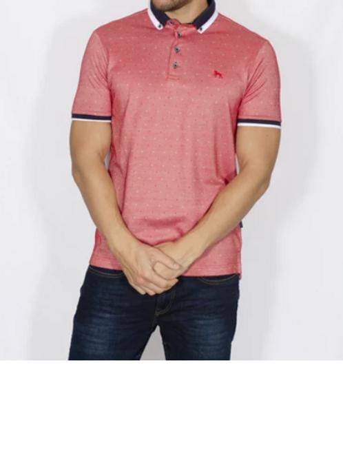 Bewley & Ritch - Jacquard Polo shirt - red