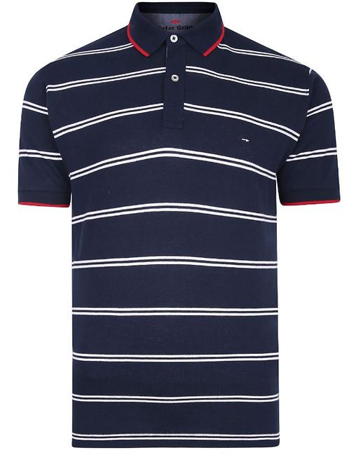 Peter Gribby - Nautical Stripe Pique Polo Shirt - navy