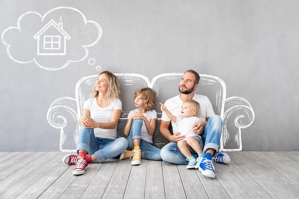 Happy family with two kids playing into