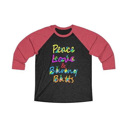 Peace Love & Bunny Butts Unisex Tri-Blend 3/4 Baseball Tee