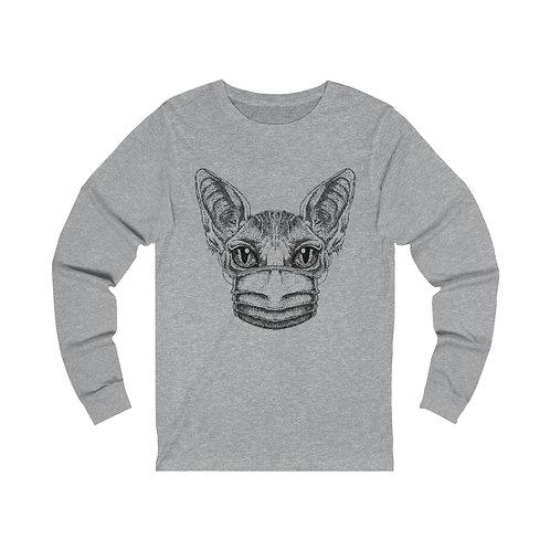Mask Up Sphynx Cat Unisex Jersey Long Sleeve Tee
