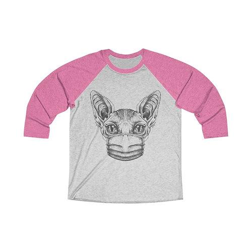 Mask UP Sphynx Cat Unisex Tri-Blend 3/4 Baseball Tee