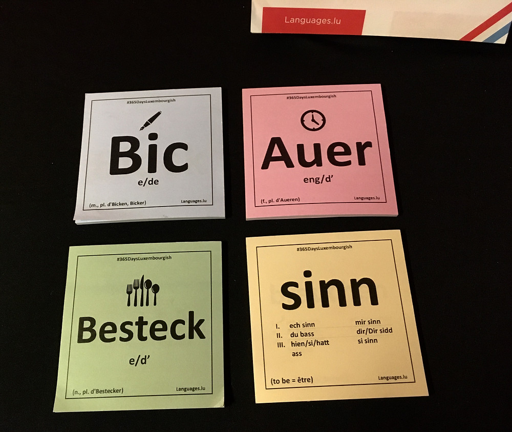 Sticky notes to learn Luxembourgish