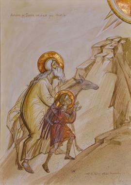 Abraham and Isaac climbing Moria