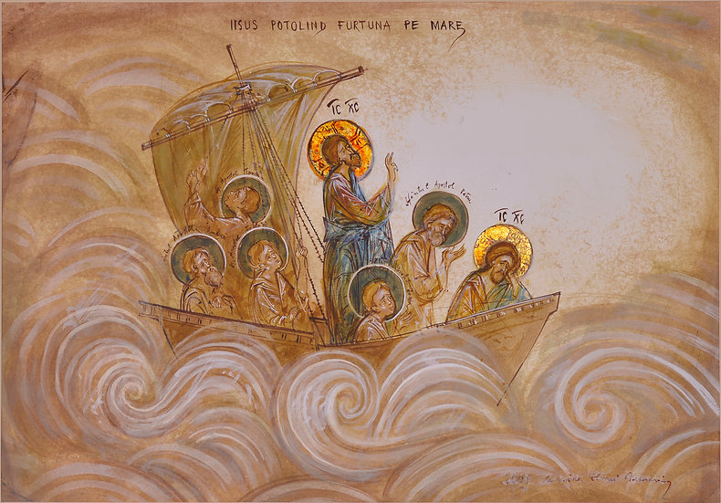 Jesus stilling the sea storm