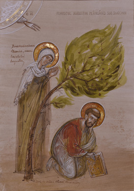 Blessed Augustine weeping under the fig tree
