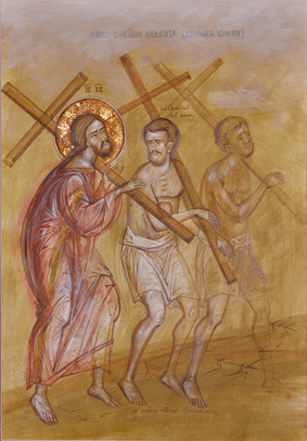 Jesus climbing Golgotha