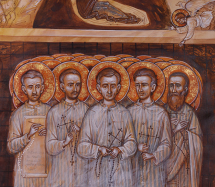 The saints of the communist prisons carolling and celebrating the Nativity (detail)
