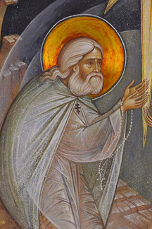Saint Seraphim of Sarov and Motovilov int the Holy Ghost's light (detail)