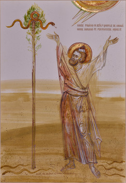 Moses rising the copper snake