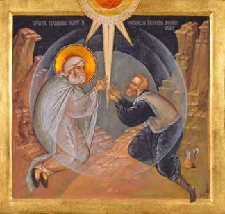 Saint Seraphim of Sarov and Motovilov int the Holy Ghost's light