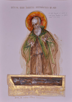 Saint Sisoës the Great before the tomb of Alexander the Great
