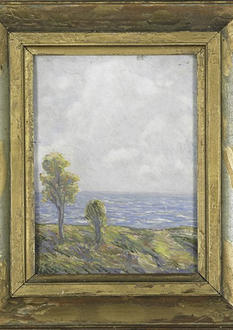 Esau Halow, Landscape with Ocean, oil on board, 1922. Live Auctioneers, auction catalogue.