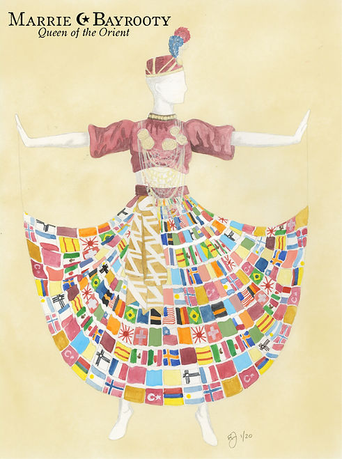 Artistic rendition of performer Marrie Bayrooty's whirling costume