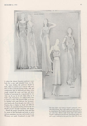 Drawing of gowns, designed by Emma Maloof. Vogue, Vol. 76 Iss. 12, December 8, 1930.