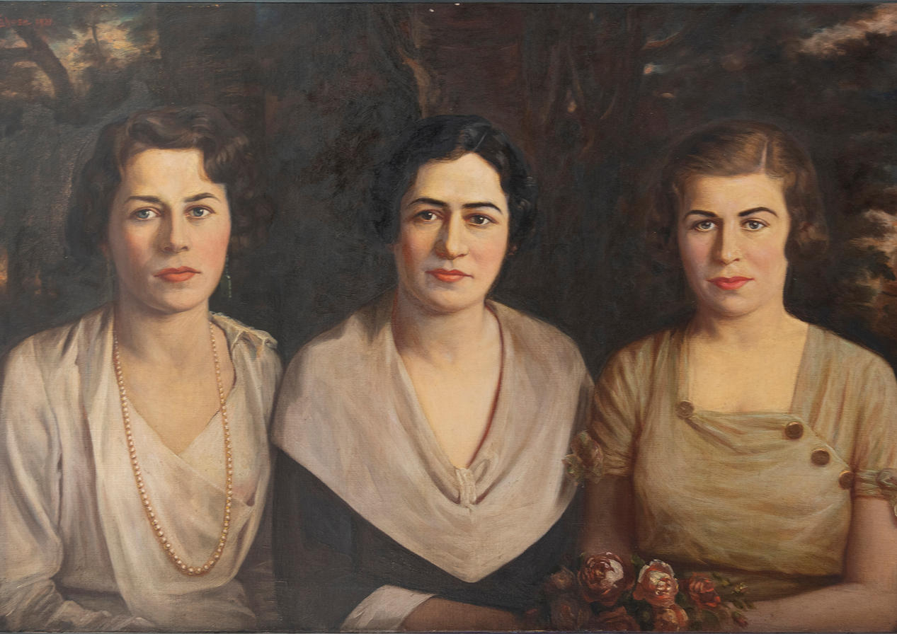 "Assad Ghosn, ""Untitled Portrait of Three Women."" c. 1940. Courtesy private collection."