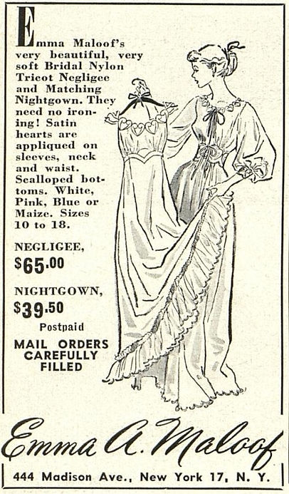 Advertisement for lingerie designer Emma Maloof's New York City clothing store