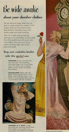 Emma Maloof hostess gown featured in an Ivory Flakes advertisement, 1948. Ladies' Home Journal, Vol. 65 Iss. 1, January 1948. ProQuest.