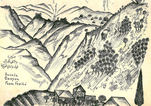 Ameen Rihani, a sketch of Sannin Canyon from Freike, 1938. Ameen Fares Rihani Collection, Khayrallah Center Archive.