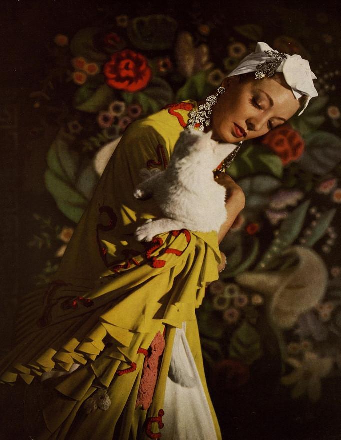 Photograph by Louise Dahl-Wolfe of a model wearing Marie Azeez El-Khoury jewels. Harper's Bazaar, Vol. 73 Iss. 2736, April 1940.
