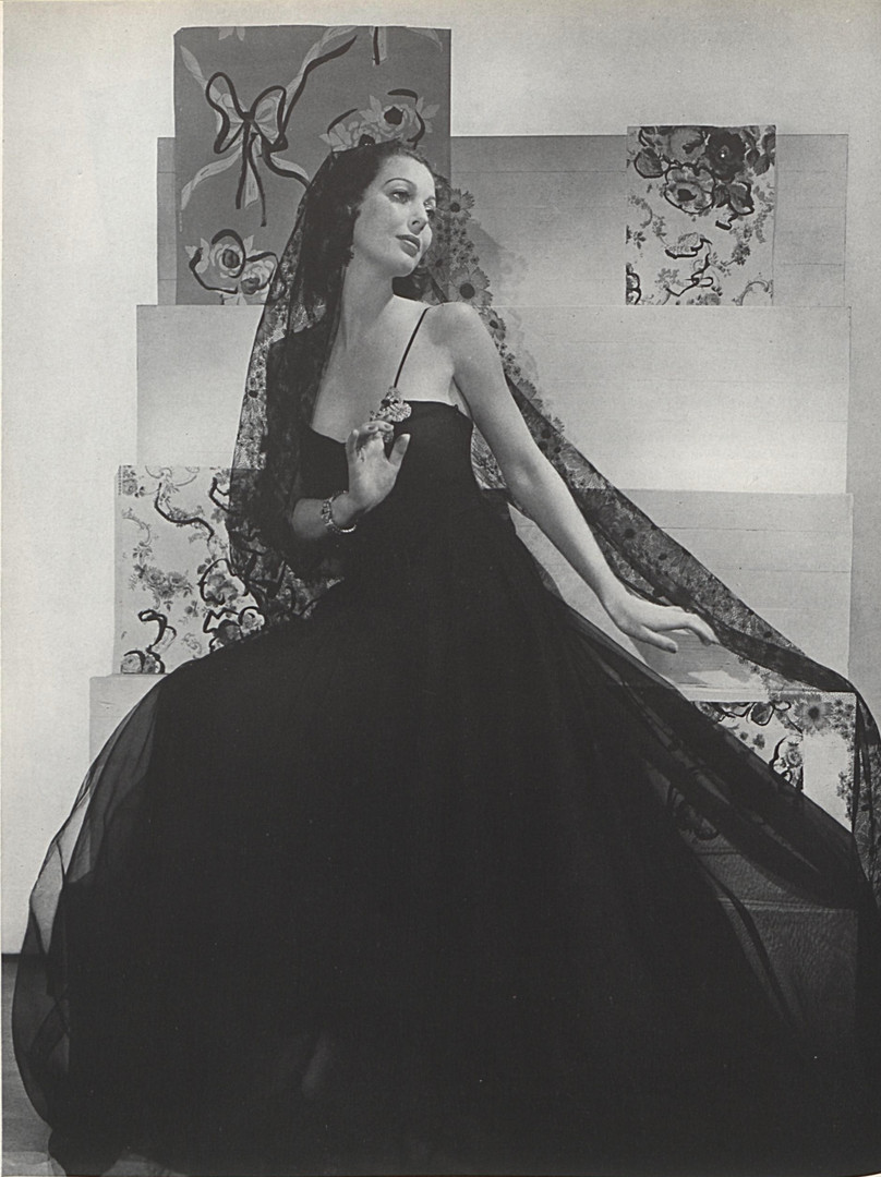 Loretta Young wearing jeweled clips from Marie Azeez El-Khoury. Vogue, Vol. 91 Iss. 2, January 15, 1938.