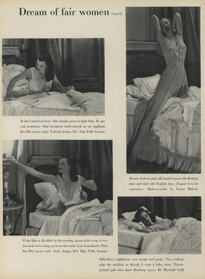 Photograph of silk and lace dress, designed by Emma Maloof and photographed by George Platt Lynes. Vogue, Vol. 106 Iss. 11, December 15, 1945.