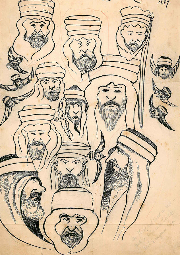 Ameen Rihani, Motawwas (Wahhabi Missionaries), 1923. Ameen Fares Rihani Collection, Khayrallah Center Archive.