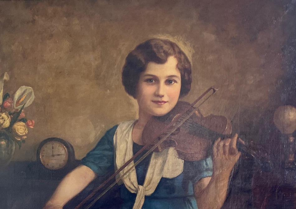 "Assad Ghosn, ""Untitled Portrait of Girl with Violin,"" c. 1904-1941. Courtesy private collection."