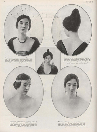 Photographs of Marie Azeez El-Khoury earrings by Charlotte Fairchild. Vogue, Vol. 50 Iss. 5, September 1917.