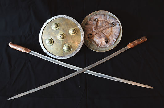 Sword and shield used by sword fighters in World's Fairs
