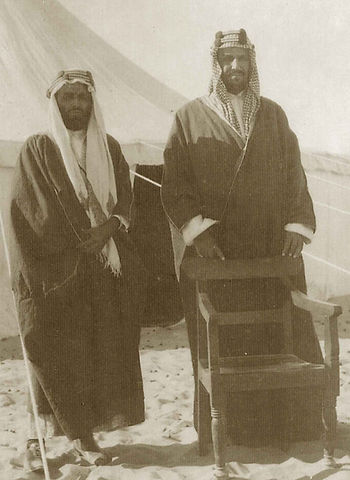 Photograph of writer Ameen Rihani in Saudi Arabia with King Abdul Aziz