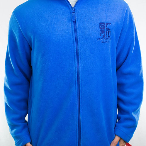 Blue Fleece Full-Zip Sweater
