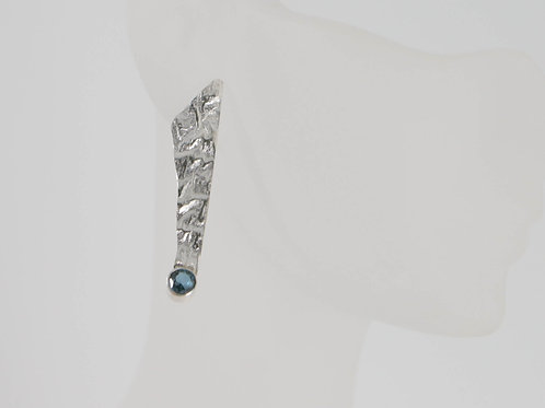 Reticulated Silver Earring set London Blue Topaz