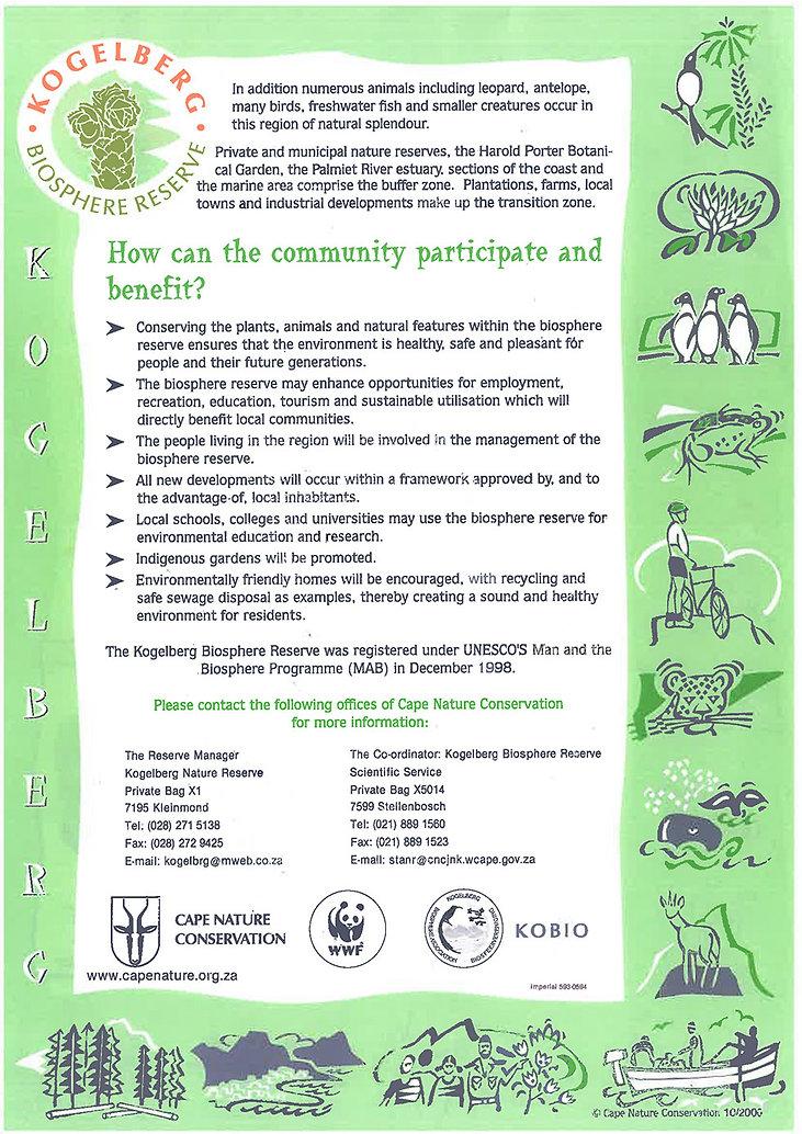 Kogelberg Biosphere Reserve information pamphlet