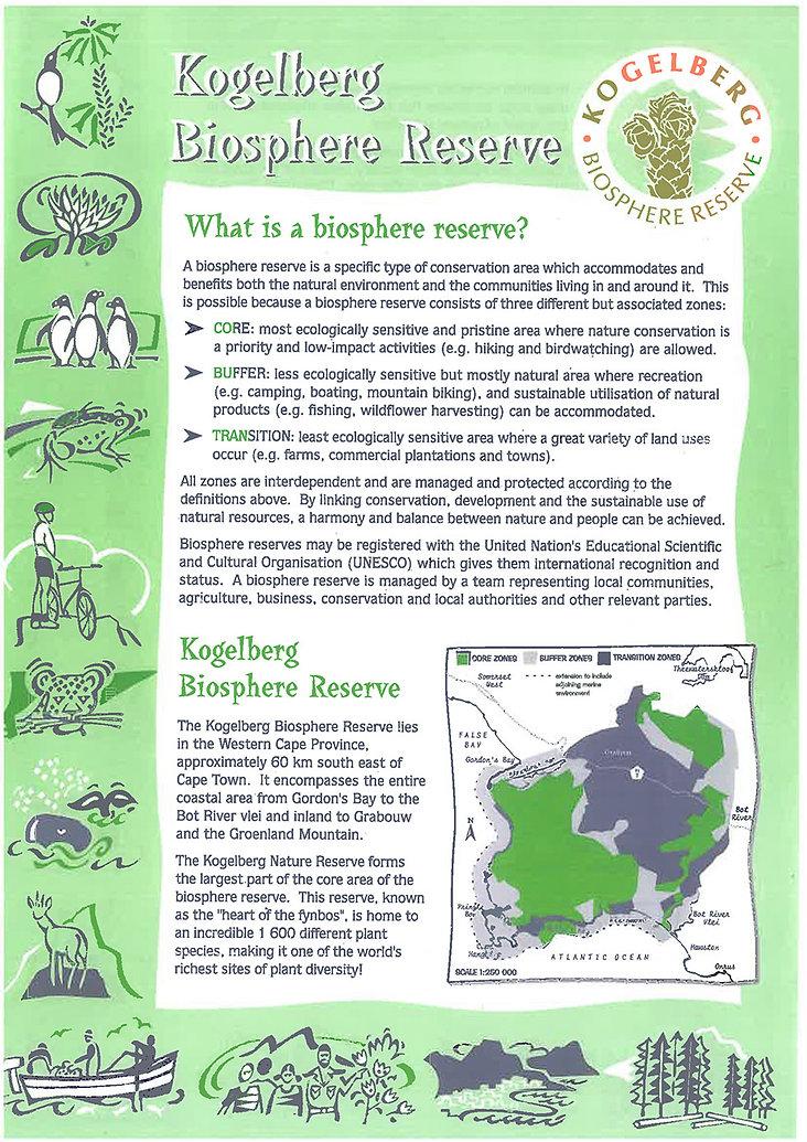 Kogelberg Biosphere Reserve information pamplet