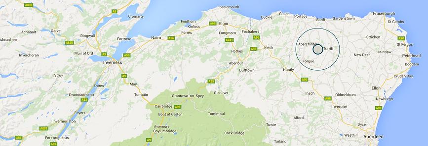 Map of Deveronside Fishings, Turriff, Aberdeenshire