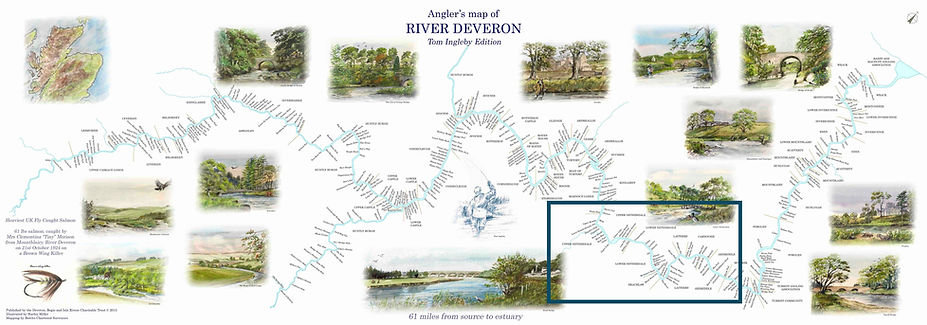 Anglers map of the River Deveron