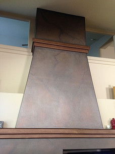 Stone look faux finish chimney