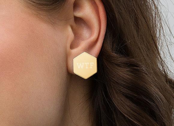 WTF Sterling Silver Hexagon Stud Earrings