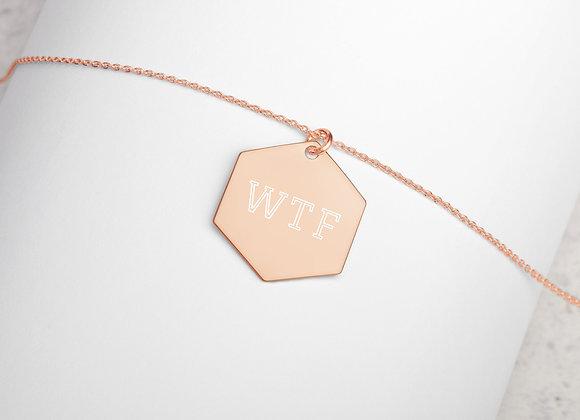 WTF Engraved Silver Hexagon Necklace
