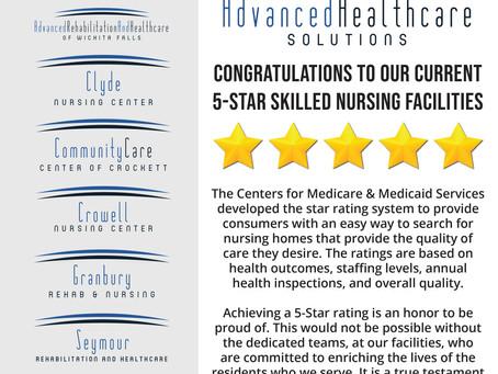 AHS Congratulates their 5-Star Facilities