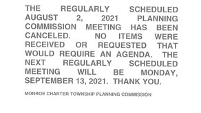 08/02/2021 Planning Commission Meeting Canceled