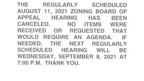 08/11/2021 Zoning Board of Appeals Canceled