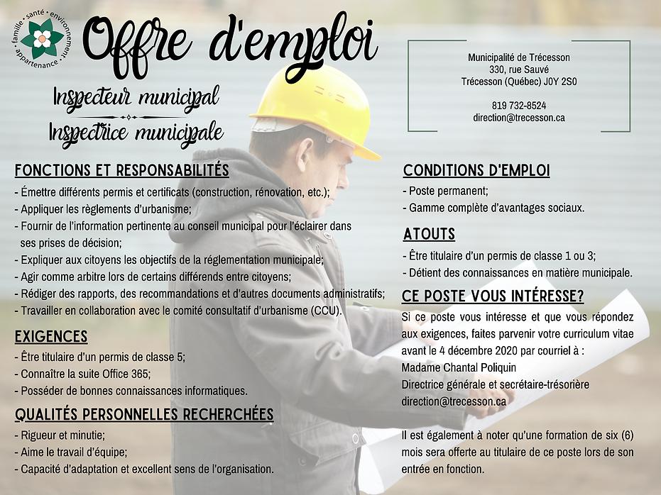 Offre d'emploi - Inspecteur municipal.pn