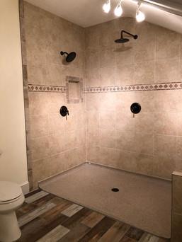 double shower head open bathroom