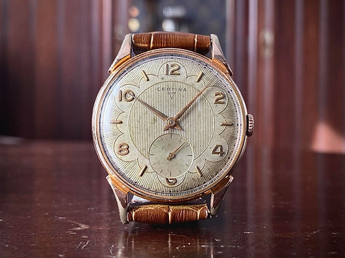 1950s Oversized Certina Dress Watch, BEAUTIFUL dial, cal. 330 movement, 38mm